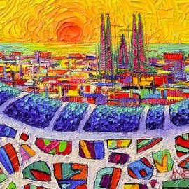 BARCELONA COLORS FROM PARK GUELL abstract stylized cityscape modern impressionism knife oil painting by Ana Maria Edulescu
