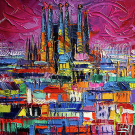 Mona Edulesco - BARCELONA COLORS Sagrada Familia by Night modern impressionist stylized cityscape