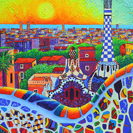 Barcelona Park Guell Sunrise Gaudi Tower Textural Impasto Knife Oil Painting By Ana Maria Edulescu by Ana Maria Edulescu