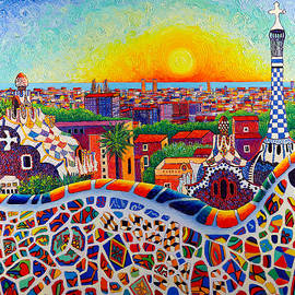 BARCELONA SUNRISE COLORS FROM PARK GUELL modern impressionism knife oil painting Ana Maria Edulescu by Ana Maria Edulescu