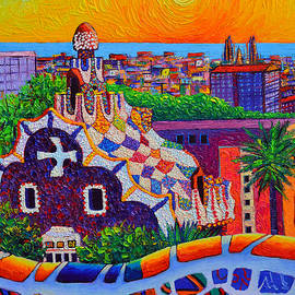 BARCELONA VIEW FROM PARK GUELL AT SUNRISE SAGRADA FAMILIA knife oil painting Ana Maria Edulescu by Ana Maria Edulescu