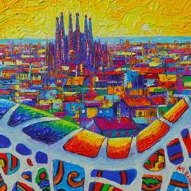 Ana Maria Edulescu - BARCELONA VIEW SAGRADA FROM PARK GUELL impressionist abstract city knife painting Ana Maria Edulescu
