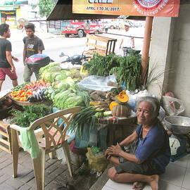 Barefoot Lady Street Vendor by Kay Novy