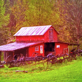 Debra and Dave Vanderlaan - Barn Collectibles on the Farm Watercolor Painting