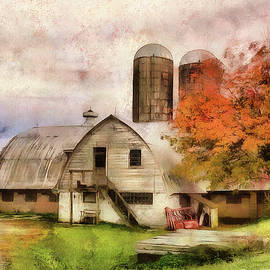 Barn With Silos by Reese Lewis
