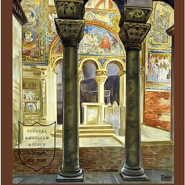 Basilica San Vitale in Ravenna, Italy - Vintage Travel Poster - Studio Grafiikka