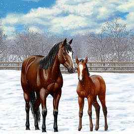 Crista Forest - Bay Mare And Foal In Winter