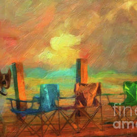 L Wright - Beach Chairs - Painting - by Liane Wright