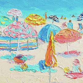 Beach painting - A Crowded Beach by Jan Matson