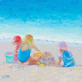 Beach Painting - Building sandcastles by Jan Matson