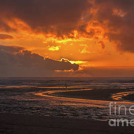 Beach Sunset Ecola Creek by Marv Vandehey