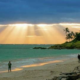 Beach Walk At Sunrise by E Faithe Lester