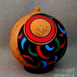 Bearclaw Design Painted Gourd by Delores Malcomson