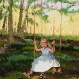 Beautiful Flower Girl On Tree Swing By Marilyn Nolan-Johnson by Marilyn Nolan-Johnson