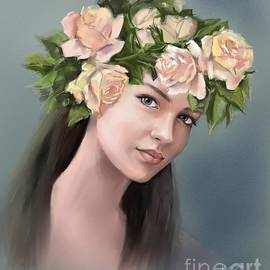 Beautiful Girl With Roses by Nesrin Gulistan