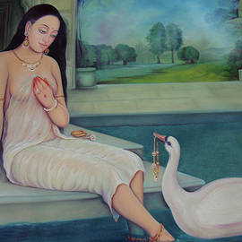 B K Mitra - Beautiful Gorgeous Nude Girl Long Smooth Hair Duck Oil Painting On Canvas
