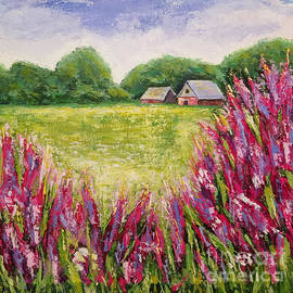 Beautiful lupines in front of the house by Olga Malamud-Pavlovich