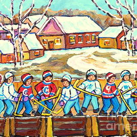 Beautiful Winter Day Laurentian Village Scene Outdoor Rink Hockey Game Painting C Spandau Quebec Art by Carole Spandau
