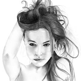 James Schultz - Beautiful Woman With Flowing Hair Drawing