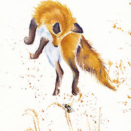 Bee Jumping - Leaping Fox by Debra Hall