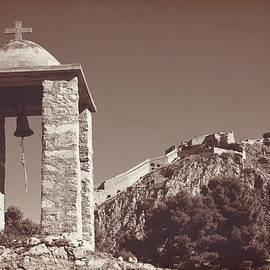 Anna Sopelniak - Belltower and fortress of Palamidi, Nafplio, Greece. Sepia.