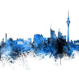 Berlin Germany Skyline Blue Signed - Michael Tompsett
