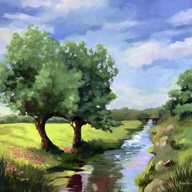 Beside the Creek - original rural landscape  by Linda Apple