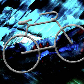 Bicycle Abstract Art BLUE by Lesa Fine