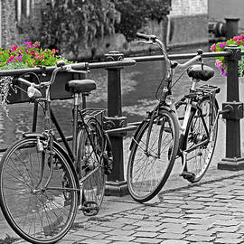 Bicycles and flower boxes, selective color. by David Freuthal
