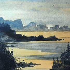 David K Myers - Big Beach, Watercolor