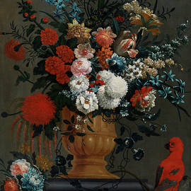 Peter Casteels the Younger -  BIG FLOWERS STILL LIFE WITH RED PARROT