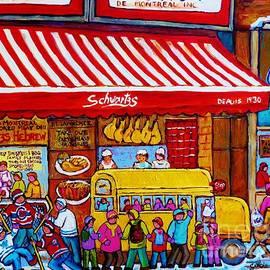 Big Yellow Schoolbus At Schwartz Deli Original Winter Scene Hockey Art Painting For Sale C Spandau   by Carole Spandau