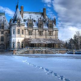Biltmore House From The Tea Room In Snow by Carol Montoya