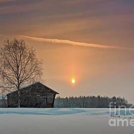 Jukka Heinovirta - Birch And Barn House Under Winter Sunrise