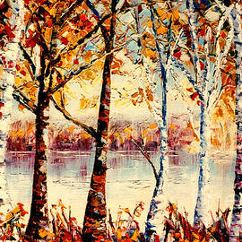 Birch Trees At Lake Canadian Landscape Painting C Spandau Country Scene Quebec Artist Canadian Art   by Carole Spandau
