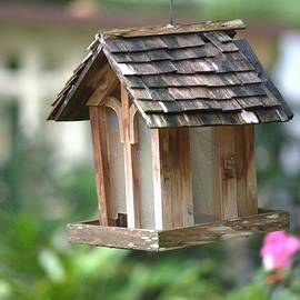 Bird Feeder In A Garden by Gordon Elwell