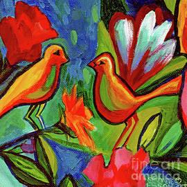 Bird Floral Diptych 1 by Genevieve Esson