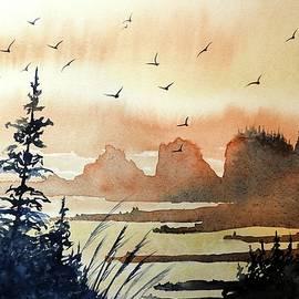 David K Myers - Bird Heaven, Watercolor