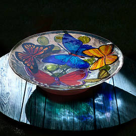 Birdbath At Night by Thomas Woolworth