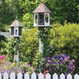 Birdhouse Flower Garden by Cynthia Guinn