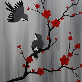 Emily Page - Birds and Blooms in Red