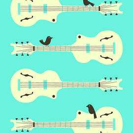 BIRDS ON GUITAR STRINGS - 1 - Jazzberry Blue