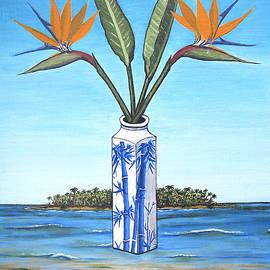 Birds Over Paradise Flowers by Jerome Stumphauzer