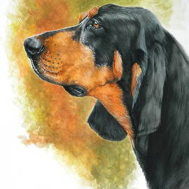 Black and Tan Coonhound in Watercolor by Barbara Keith