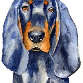 Black and Tan Coonhound Dog by Carlin Blahnik CarlinArtWatercolor