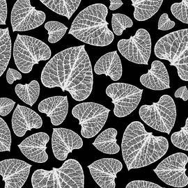 Christina Rollo - Black And White Leaf Abstract