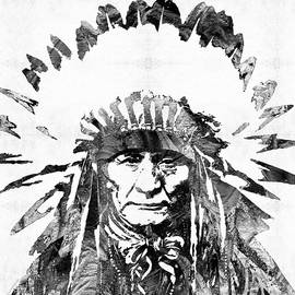 Black and White Native American Chief by Sharon Cummings