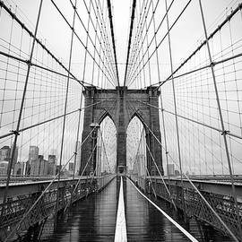 Black and White of the Brooklyn Bridge by Stamp City