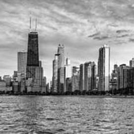 Black And White Panorama Of Chicago From North Avenue Beach Lincoln Park - Chicago Illinois by Silvio Ligutti