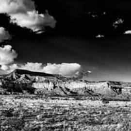 Black and White Panorama of the Ghost Ranch Area a Tribute to the Master - Abiquiu New Mexico by Silvio Ligutti